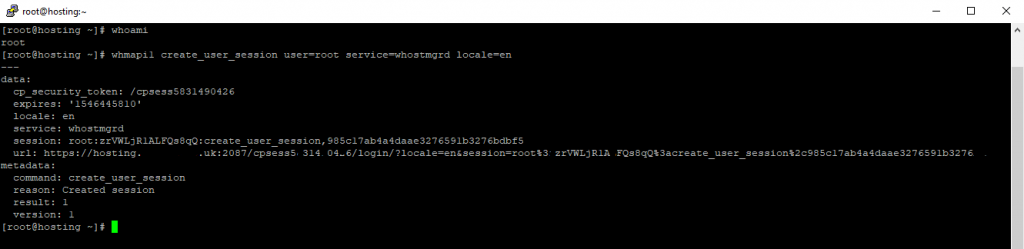 using WHM API tool to request a session